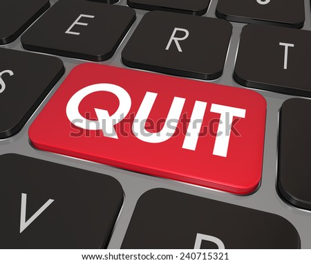 Quit Word on a red computer keyboard button or key to illustrate frustration or dissatisfaction in your current job and the desire to find a new career or position - stock photo