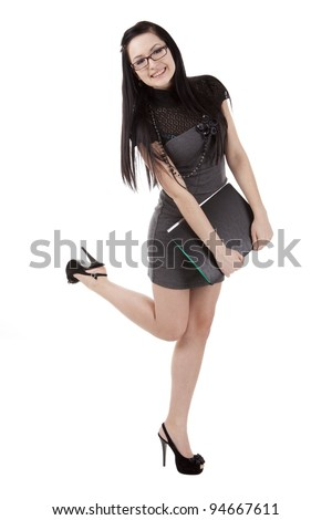 Quite beautiful girl with a folder - stock photo