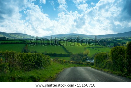 Quite country drive in Northern Ireland uk - stock photo