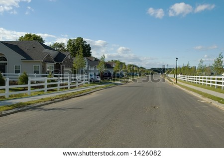 quite neighbourhood street - stock photo