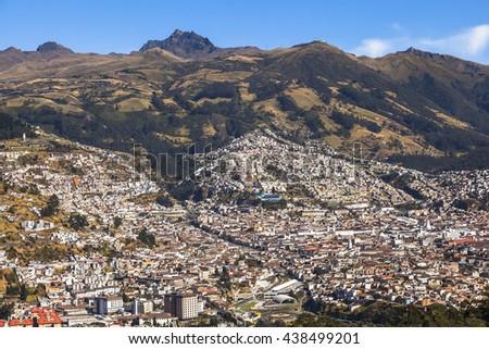 Quito, at the foot of Pichincha - stock photo