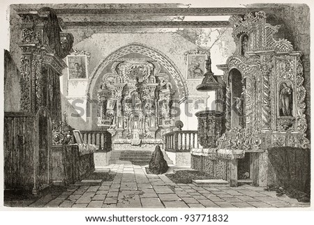 Quito cathedral interior old illustration, Ecuador. Created by Therond after Charton, published on Le Tour du Monde, Paris, 1867 - stock photo
