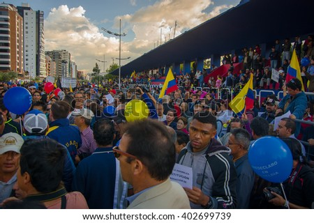 Quito, Ecuador - April 7, 2016: Group of people, police and journalists during anti government protests in Shyris Avenue
