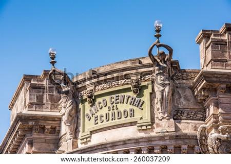 QUITO, ECUADOR - JAN 5, 2015: Central bank of Ecuador in the historic center of Quito. Historic center of Quito is the first UNESCO WOrld Heritage site - stock photo