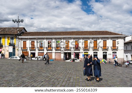 QUITO, ECUADOR - JAN 1, 2015: Plaza San Francisco in the historic center of Quito. Historic center of Quito is the first UNESCO WOrld Heritage site - stock photo