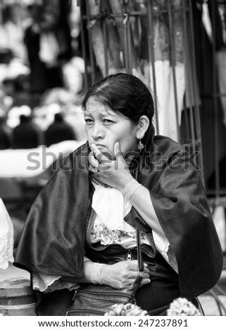 QUITO, ECUADOR - JAN 1, 2015: Unidentified Ecuadorian woman thinks. 71,9% of Ecuadorian people belong to the Mestizo ethnic group