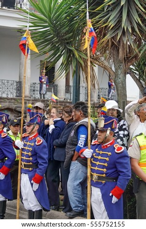 QUITO, ECUADOR - JUNE 19, 2016: Ceremonial guards with pikes at attention in Independence Square during the weekly changing of the guards and presidential address.