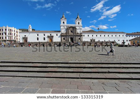 QUITO, ECUADOR - JUNE 1: Plaza at the church and convent of San Francisco in historic downtown Quito, Ecuador, on June 1, 2012. Historic Quito is a World Heritage Site and popular tourist destination. - stock photo