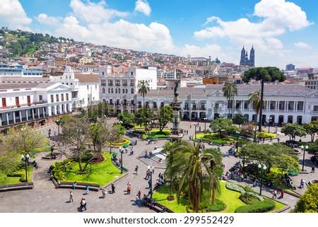 QUITO, ECUADOR - MARCH 6: Activity in the Plaza Grande in the colonial center of Quito, Ecuador on March 6, 2015 - stock photo