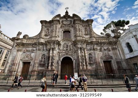 QUITO, ECUADOR - MARCH 3, 2014: Church of the Society of Jesus, La Compania in Quito, Ecuador. Exterior facade - stock photo