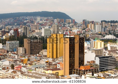 Quito, Ecuador. Modern buildings in the north part of the city - stock photo