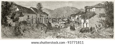 Quito suburbs old view. Created by Therond after Charton, published on Le Tour du Monde, Paris, 1867 - stock photo