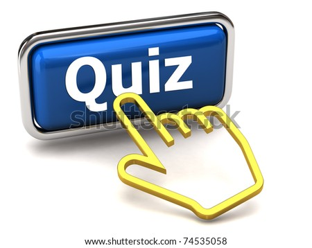 Quiz button and golden hand cursor - stock photo