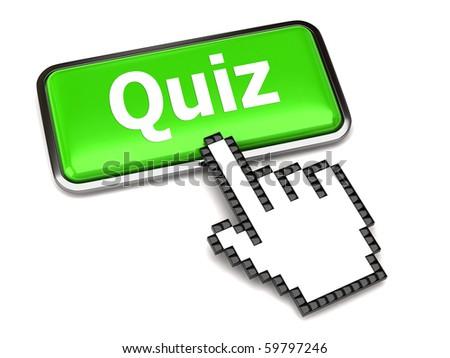 Quiz button and hand cursor - stock photo