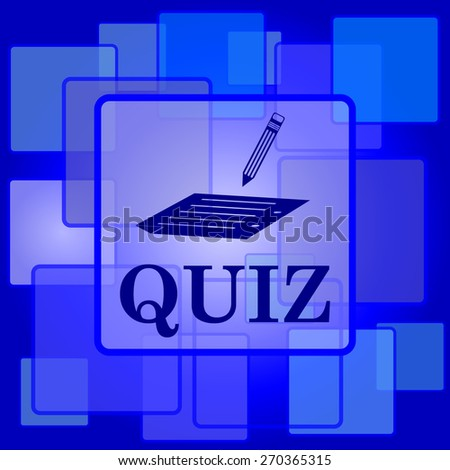 Quiz icon. Internet button on abstract background.  - stock photo