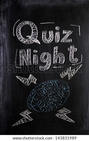 Quiz Night announcement on a used blackboard with a chalk drawing of a human brain fizzing with lightening bolts of knowledge and intelligence. - stock photo