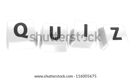 QUIZ written in black on white computer keys. 3d illustration. Isolated background. - stock photo