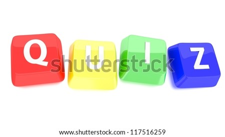 QUIZ written in white on red, yellow, green and blue computer keys. 3d illustration. Isolated background. - stock photo