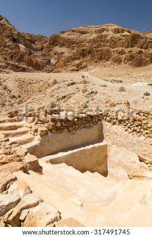 Qumran caves in Qumran National Park, Israel - stock photo