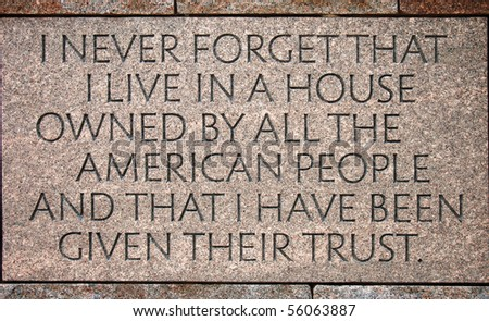 Quotation in the Franklin Delano Roosevelt Memorial in Washington DC - stock photo