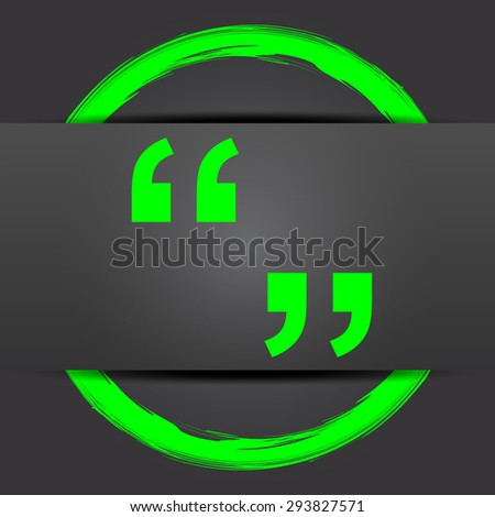 Quotation marks icon. Internet button with green on grey background.