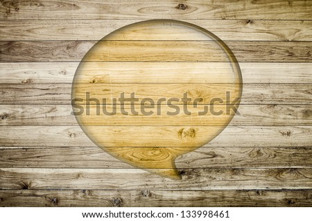 Quote balloon with Brown wood plank wall texture background