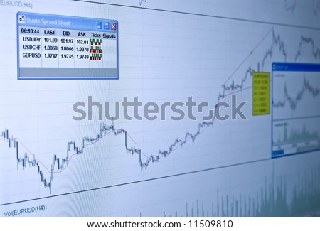 Quotes and Chart at the stock exchange. Let's make money! Cooling filter - stock photo