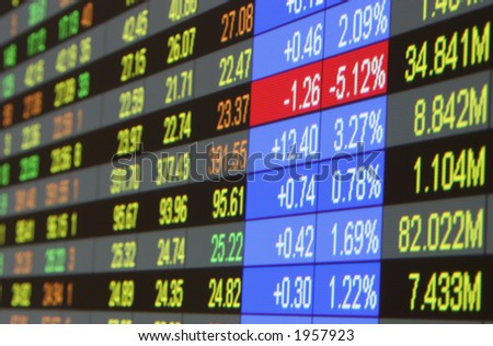 Quotes at the stock exchange - stock photo