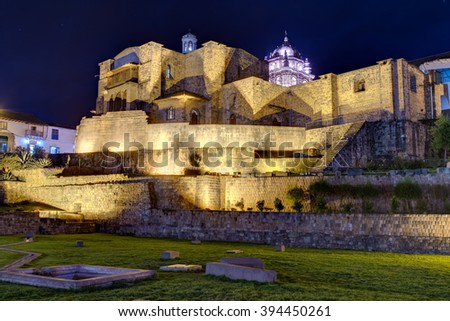 Qurikancha or Coricancha or Inti Kancha or Inti Wasi or Kiswar Kancha or Inca Wiracocha temple and palace in Cusco, Peru by night - stock photo