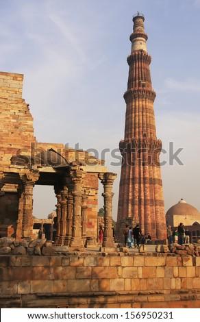 Qutub Minar complex, Delhi, India - stock photo