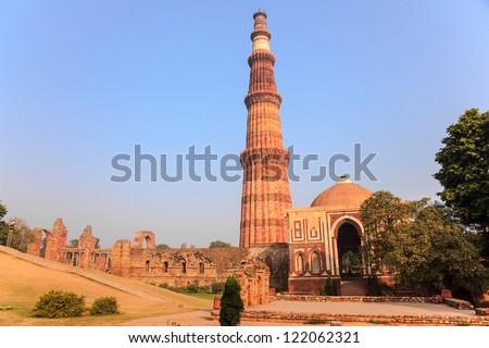 qutub minar, the tallest minaret in India - stock photo
