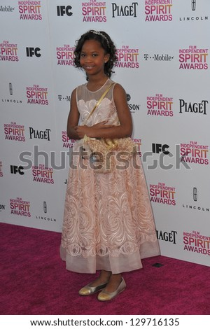 Quvenzhane Wallis at the 2013 Film Independent Spirit Awards on the beach in Santa Monica. February 23, 2013  Santa Monica, CA Picture: Paul Smith