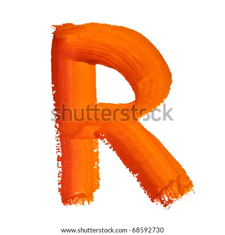 R - Color letters isolated over the white background