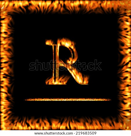 R - fire letter isolated on a black background. Look for more symbols in my gallery.  - stock photo