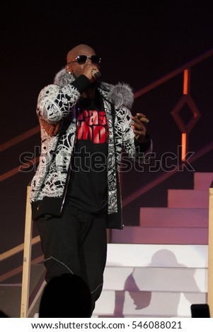 R. Kelly performs on stage at the FOX Theater on December 27, 2016 in Atlanta, Georgia - USA
