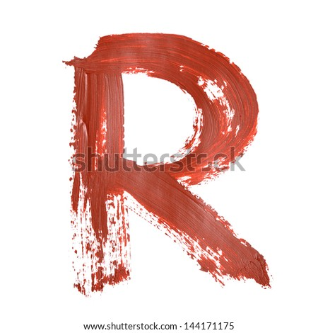 R - Red letters over white background