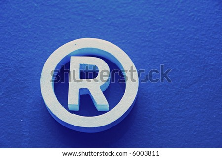 R Registered trademark in a blue background