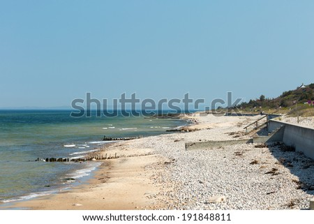Raageleje Beach at the northern shores of the large Danish isle Zealand. - stock photo