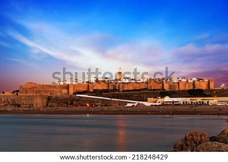 Rabat at sunset, Morocco - stock photo