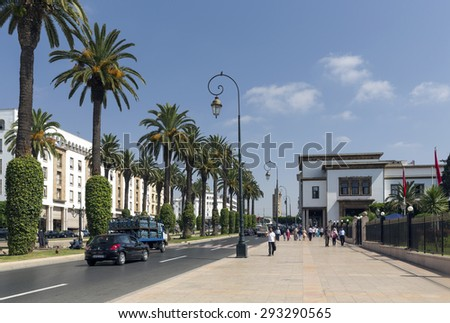 RABAT - JULY 23: The new part of the city as on July 23, 2014 in Rabat, Morocco. The city is located on the Atlantic Ocean at the mouth of the river Bou Regreg Rabat, Morocco.
