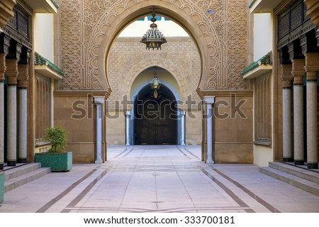 RABAT, MOROCCO, AUGUST 29: Arabic style entrance to the King's Palace in Rabat. Morocco - stock photo