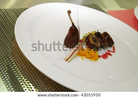 rabbit chop in a berry sauce - stock photo