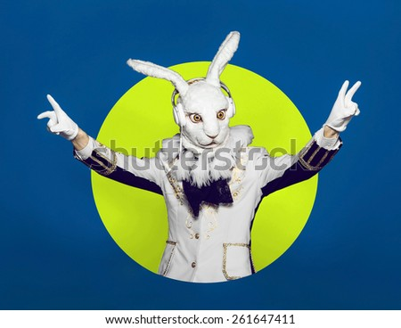 Rabbit Dj in white suit on color background - stock photo