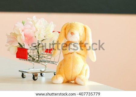 Rabbit doll for decorate in room.