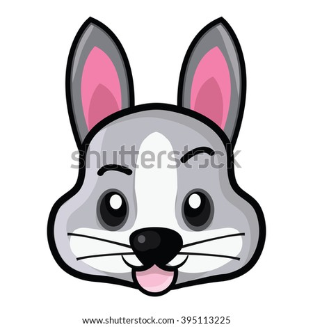 Rabbit Emoticons Set Different Expressions - stock photo