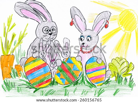 rabbit family on meadow with easter eggs. child drawing. - stock photo