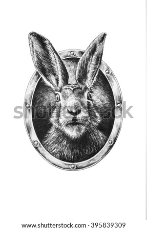 Rabbit in oval frame. Pencil illustration.