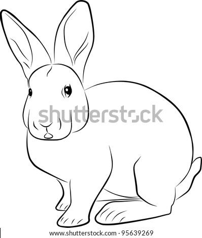 rabbit sketch - freehand illustration on a white background - stock photo