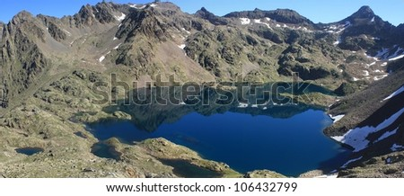 Rabuons lake in the morning, Mercantour National Park, France - stock photo
