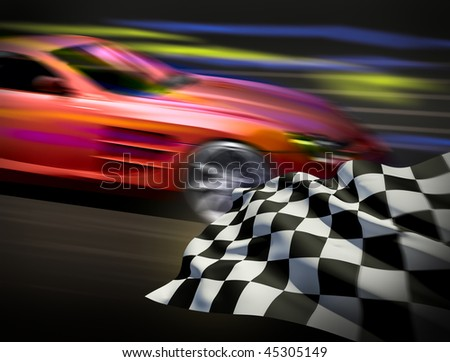 Race and chequered flag - stock photo